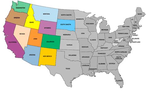 usa states map utah states covered in color