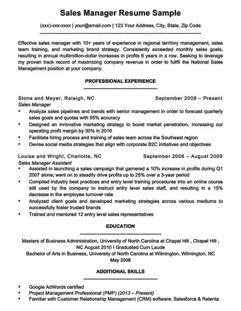 Sales Manager Resume by Sales Manager Resume Sle Writing Tips Resume Companion