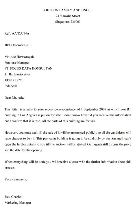 Reply Inquiry Letter Exles Inquiry Letter