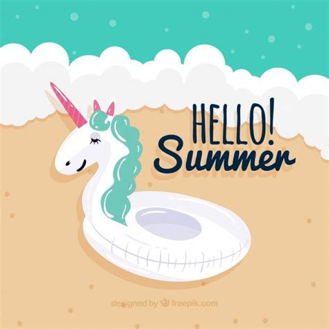 Unicorn Summer summer background with unicorn float vector free