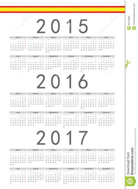 Calendario 2017 En Español Espa 241 Ol 2015 2016 Calendario Vector De 2017 A 241 Os