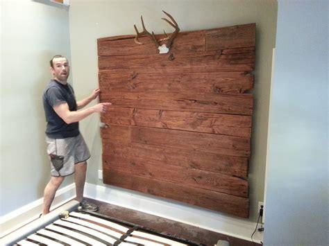 diy brown pallet wood wall mount headboard with antler