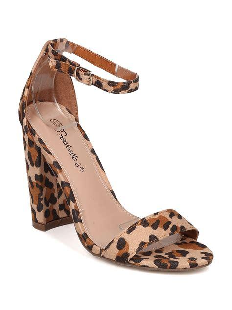 leopard sandals heels animal print breckelles gg68 faux suede leopard open