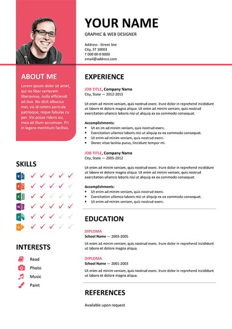 Bayview Stylish Resume Template Pink Resume Template Free