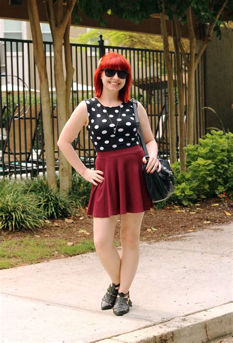 10 Mus Crop Maroon polka dot crop top maroon skater skirt and pointed cutout ankle boots