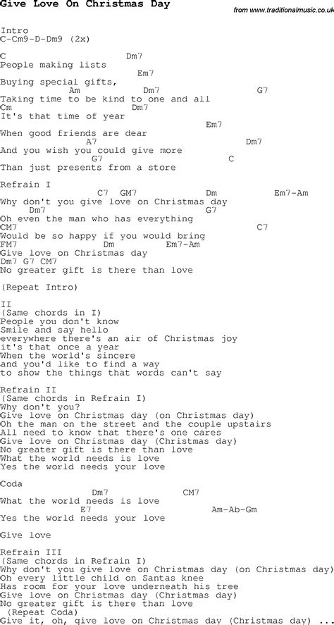 christmas carol song lyrics with chords for give love on