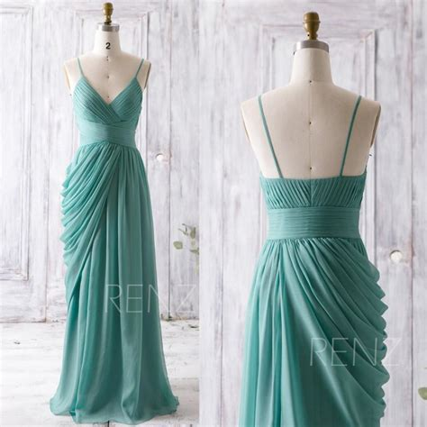 long draped dress 2016 teal bridesmaid dress long draped wedding dress v