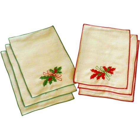 set of christmas cocktail napkins by matouk from rarefinds