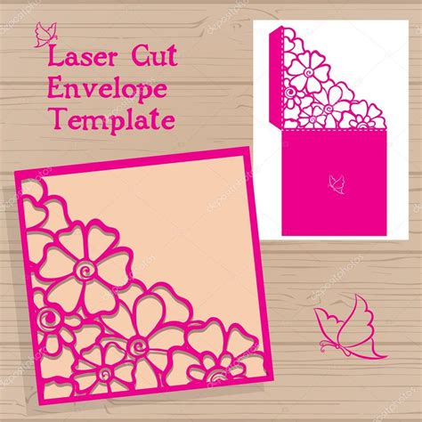 flower envelope card template lasercut vector wedding invitation template wedding