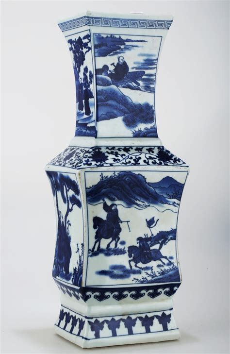 antique porcelain blue and white porcelain square vase a blue and white porcelain square vase the base marked with