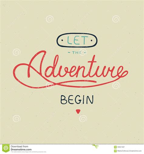 typography greeting cards let the adventure begin in vintage style stock vector