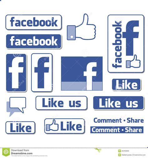 design font for facebook facebook like button icons set editorial image