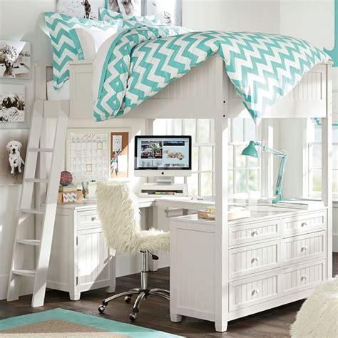 beds for teen girls beadboard loft bed pbteen