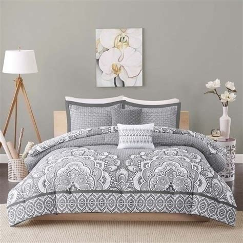 grey twin comforter set new twin xl full queen bed gray grey white medallion 5 pc