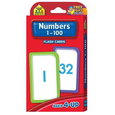 Flash Card Schoolzone 9 numbers flash cards 1 100 teaches and reinforces numbers for p k school zone