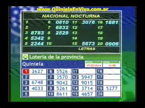 kinela noturna quiniela nocturna 07 07 2014 youtube