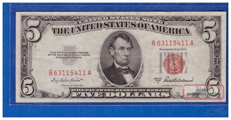 one for the money series 1 1953a series 5 dollar bill seal united states