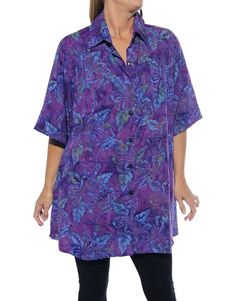 Blouse Batik Big Size Motif Kombinasi Mb315yc batik hibiscus purple new tunic top