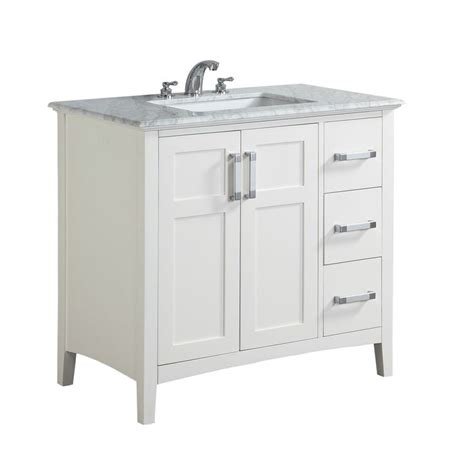wyndenhall salem 36 inch white quartz marble top single