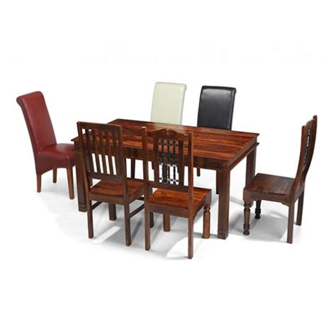 Jali Sheesham 160 Cm Chunky Dining Table And 6 Chairs Jali Dining Table And Chairs