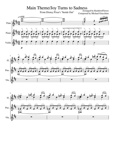 theme song inside out sheet music made by rainbowflower for 3 parts flute