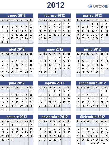 Calendario De 2012 Calend 225 2012 E Feriados De 2012
