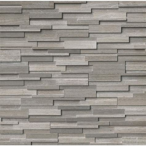 ms international gray oak 3d ledger panel 6 in x 24 in honed marble wall tile 6 sq ft