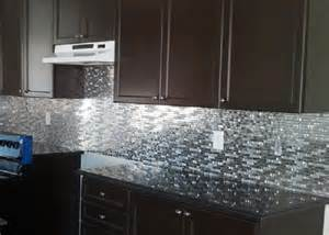 Stainless Steel Tiles For Kitchen Backsplash Stainless Steel Metal And Black Tiled Glass Mosaic Kitchen