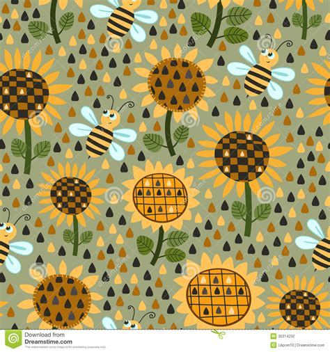 sunflower pattern tumblr seamless pattern with sunflowers and bees stock vector