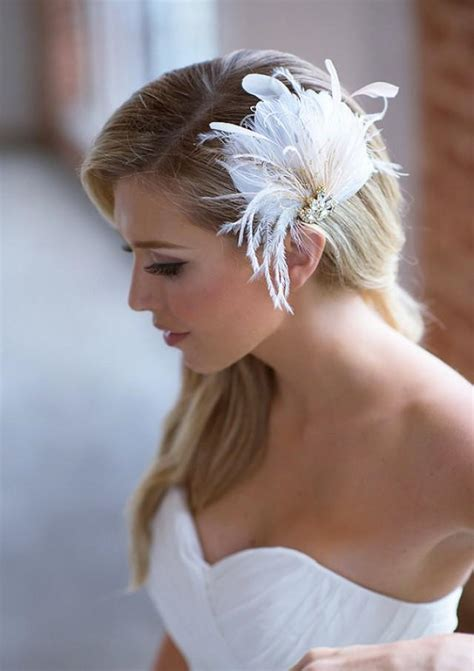Wedding Hair Accessories Feather by Ivory Bridal Hair Clip Chagne Feather Wedding