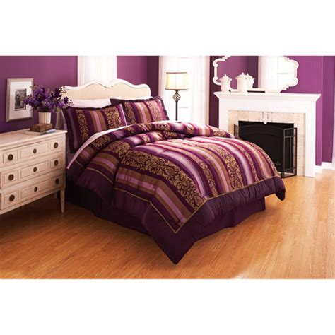 walmart comforter sets better homes and gardens antique wallpaper stripe purple