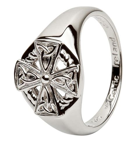 gents celtic cross silver ring