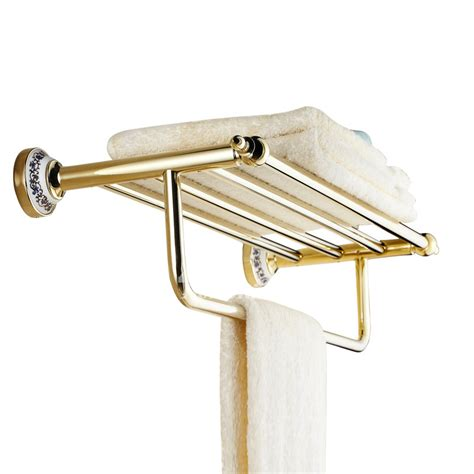 brass towel racks for bathrooms antique golden polished brass towel rack