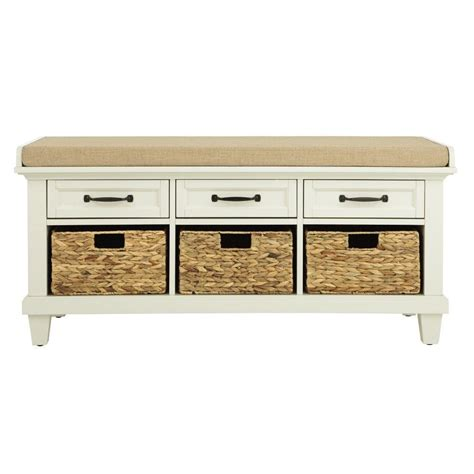 home benches home decorators collection martin ivory shoe storage bench