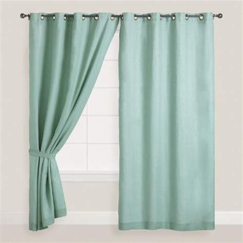 dusty curtains dusty aqua linen grommet top curtains set of 2 products