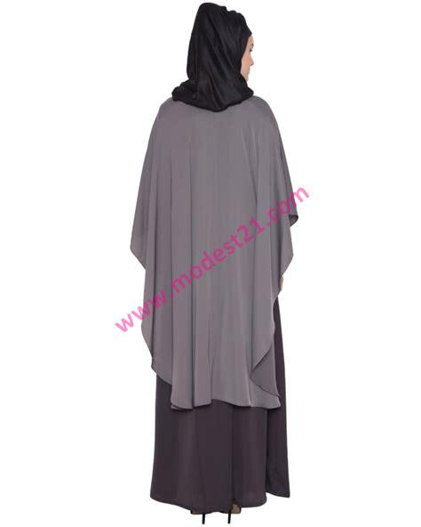 Abaya Premium premium nida grey abaya with a a symmetrical ponchoo