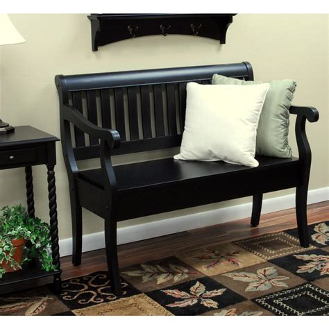 vintage bench with storage carolina cottage veranda antique black storage bench 4235 ab the home depot