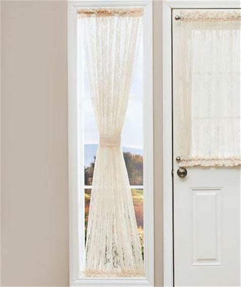 side light curtain elegant lace door window sidelight curtain panel w rod