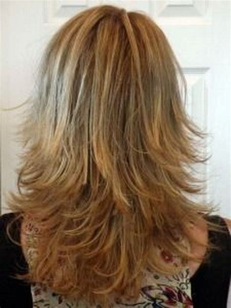 mid length layered ends back shoulder length layered wavy hairstyles back view google