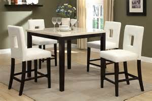 5pc rex ford cream marble top counter height dining table set