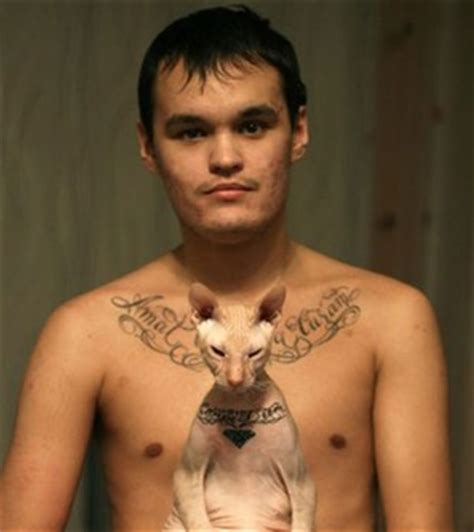 tattooed hairless cat russian artist timur rimut inks carpe diem on his