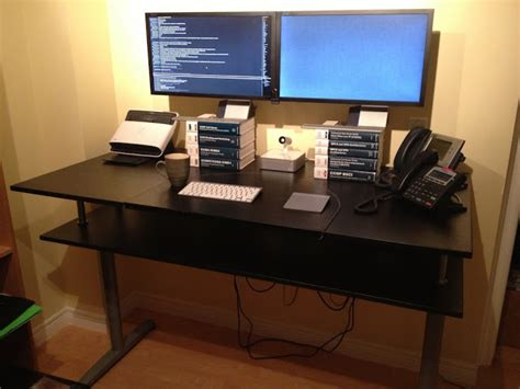 Ikea Galant Standing Desk Galant Standing Desk With Monitor Shelf Ikea Hackers