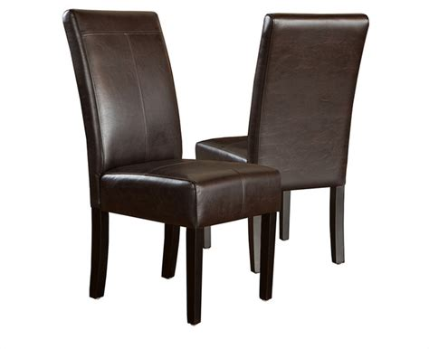 stella marbled brown leather dining chair set of 2