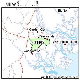 Savannah Zip Code Map by Best Place To Live In Savannah Zip 31405 Georgia
