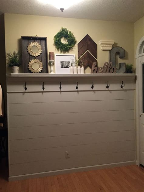 shiplap garage wall shiplap entryway with shelf and hooks garage doors