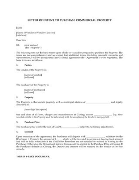 Letter Of Intent To Purchase Real Estate Canada Canada Real Estate Forms Forms And Business Templates Megadox