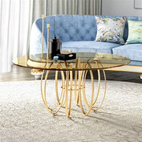 Exclusive Brass Round Glass Coffee Table Exclusive Coffee Tables