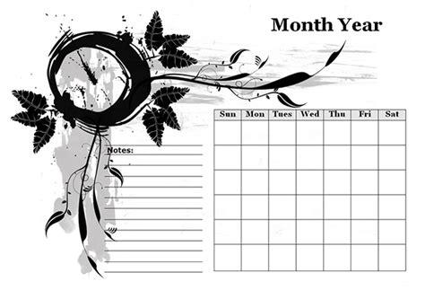 monthly blank calendar  designer monochrome