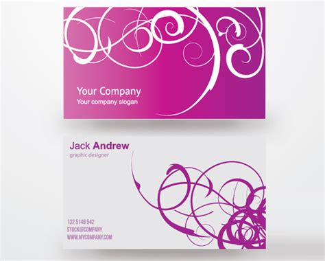 business card design template vector free 25 free pink business card templates for designyep