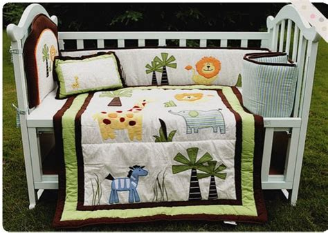 Jungle Cot Bedding Set Jungle Animals 3d Cotton Baby Crib Bedding Set For Boy Cot Bed Kit Embroidery Quilt